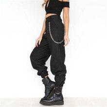S-3XL размера плюс брюки женские повседневные брюки-карго с высокой талией женские свободные однотонные брюки черного цвета хаки Брюки с карманами и эластичным поясом