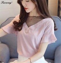 2018 Ladies Causal loose pink Ruffles Shirts Women's White Chiffon Blouses women Tops Camisas Female Bluas Blouse Women Shirt