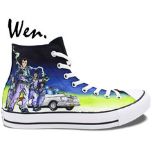 Wen Best Popular Hand Painted Shoes Custom Design Ghostbusters Men Women's High Top Canvas Casual Shoes Christmas Birthday Gifts