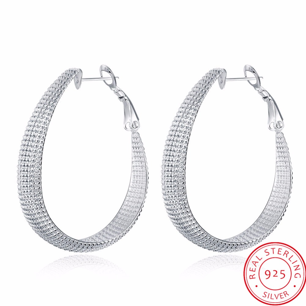 LEKANI New Stylish Trendy 925 Sterling Silver Hoop Earring Accessories Sample Hollow Design for Women Wedding Fine JewelryLEKANI New Stylish Trendy 925 Sterling Silver Hoop Earring Accessories Sample Hollow Design for Women Wedding Fine Jewelry