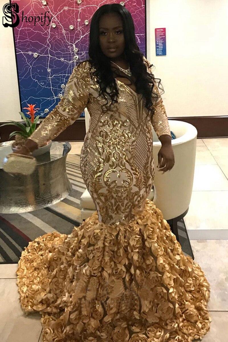 Grande taille Sexy sirène col en v à manches longues or Sequin africain noir filles femmes fleurs or Sequin robe de bal robes