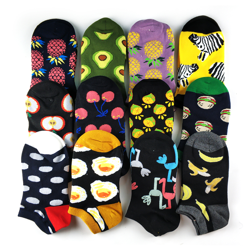 5 Pairs/lot Animal Food Fruit Avocado Zebra Burger Omelette Flamingo Socks Happy Cotton Ankle Funny Men Women Summer Casual Sock