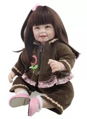 Reborn poupées silicone souple vinyle bébé poupées mini poupée souriante filles cheveux longs vêtements impressionnants 55 cm fête des enfants cadeau mère