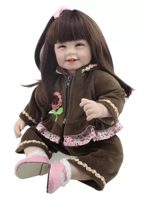 reborn dolls soft silicone vinyl baby dolls mini doll smileing girls long hair Awesome clothes 55cm Children's day gift mother