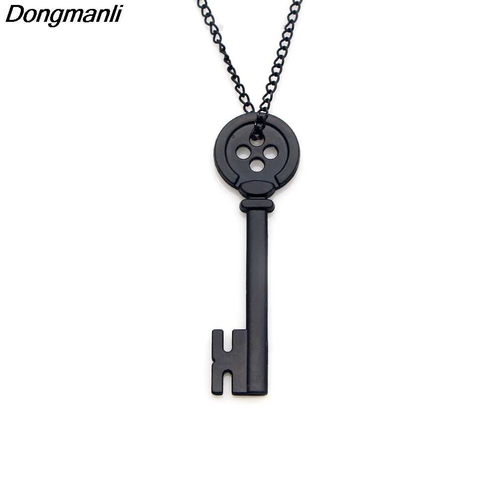 50pcs/set DMLSKY Women fashion CORALINE KEY Skeleton Props Neil Gaiman Promotional Cosplay Props charm necklace pendant M1972