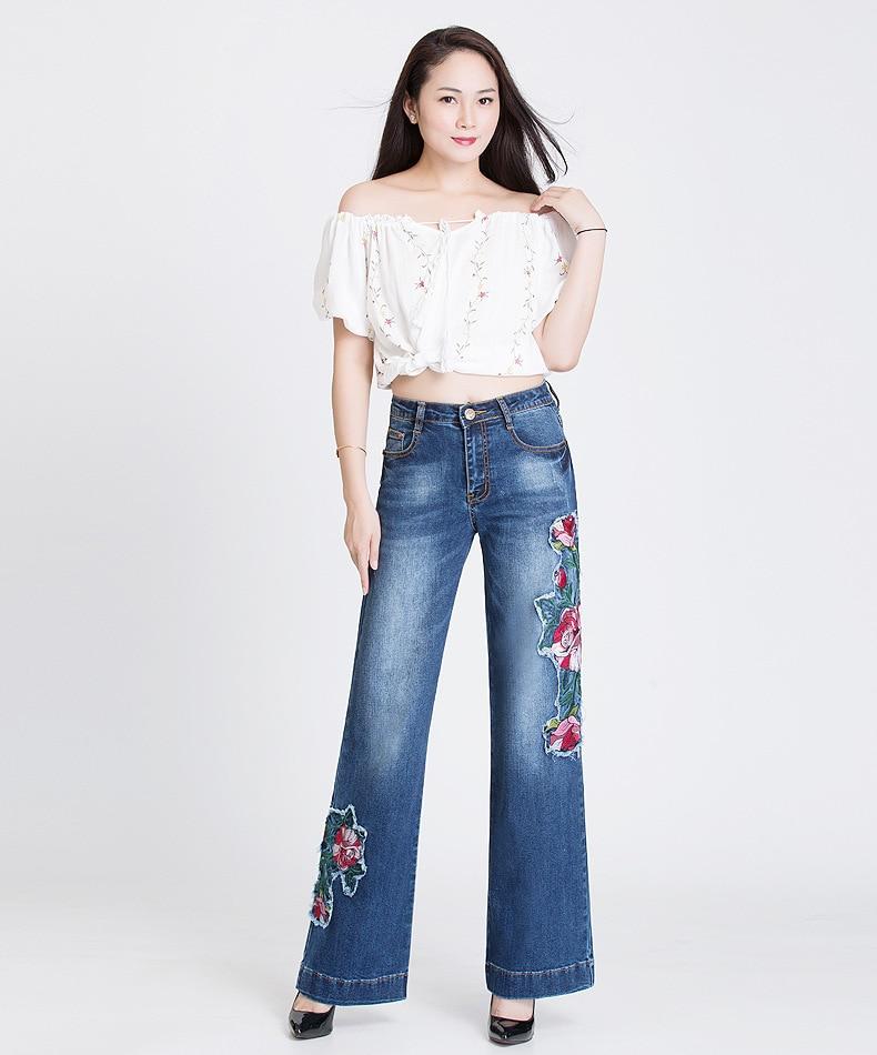 9a6e296a16e 2019 CUMUKKIYP Folk Custom Bell Bottom Jeans Woman Flower Patch ...