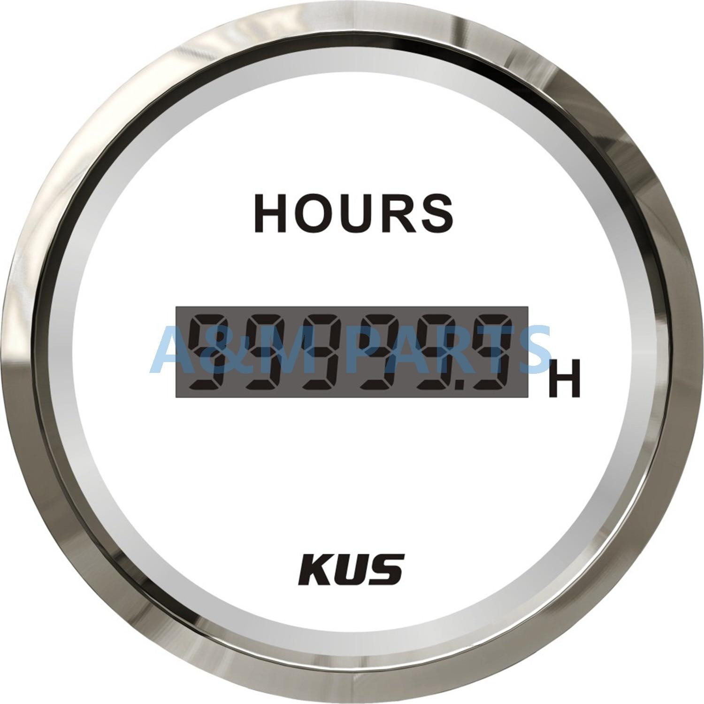 KUS Waterproof Marine Engine Hour Meter LCD Digital Boat Outboard Inboard Truck Tractor Diesel Motor Generator