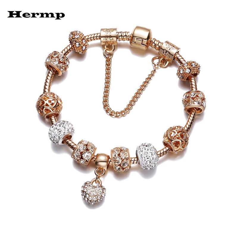 Gold Glitter Pink Murano Glass Bead for Silver European Charm Slide Bracelets