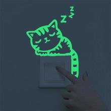 Милый мультяшный зеленый светильник светящийся Переключатель на стену с наклейками Темная ночь светящиеся настенные наклейки украшение дома обои