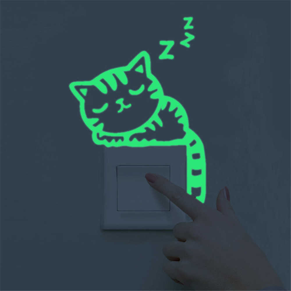Dibujos Animados lindo verde luz luminosa interruptor pared pegatinas Noche Oscura brillante pegatinas de pared casa decoración de la pared