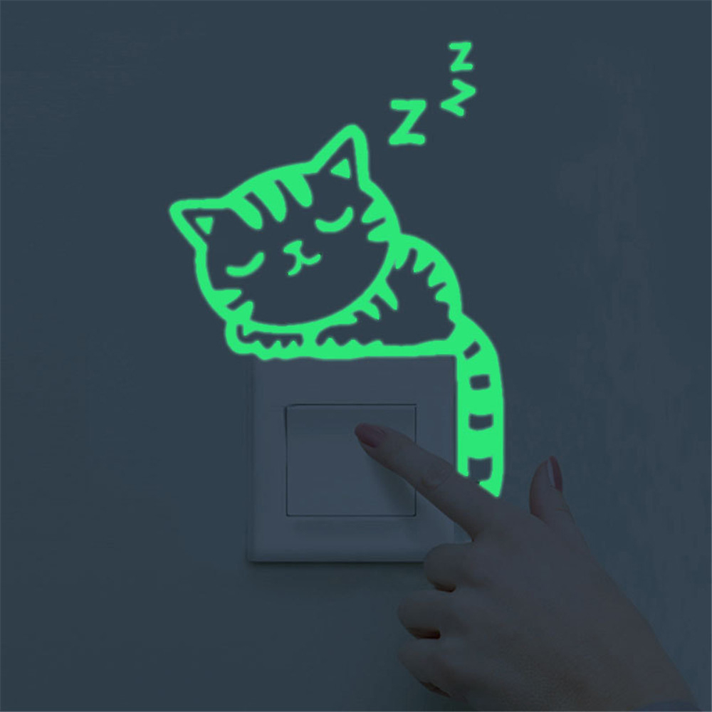 Cute Cartoon Green Light Luminous Switch Wall Stickers Dark Night Glowing Wall Stickers Home Decoration Wallpaper