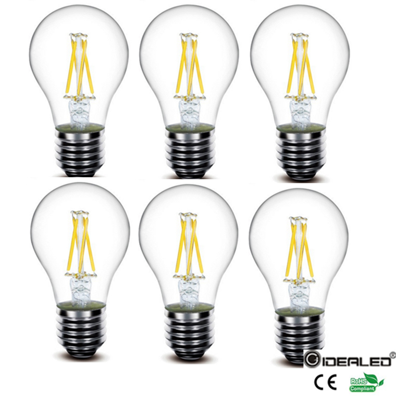 4W Dimmable E27 led filament bulb 60W Equivalent Edison Style Light led Bulb for Soft white 2700K 6000K E27 Base 6-Pack 15w dimmable led br40 light bulb e27 e26 screw base wide beam angle 120 degrees 100w halogen bulb equivalent