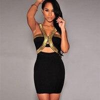 Sexy Mini Dress Clubwear Bodycon Dress Women Clothes 2015 Black Gold Paillette Dresses Cutout Bandage Dresses