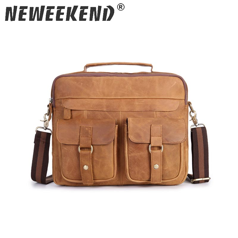 Men s Genuine Leather Crazy Horse Shoulder Corssbody Handbag Briefcase Portfolio Tote Pouch Messenger iPad Sling