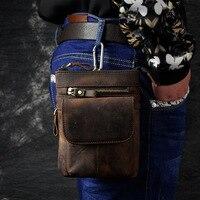 Retro Oil Wax Genuine Leather Universal Outdoor Waist Phone Bag Pouch Case ForXiaomi Mi Max 2