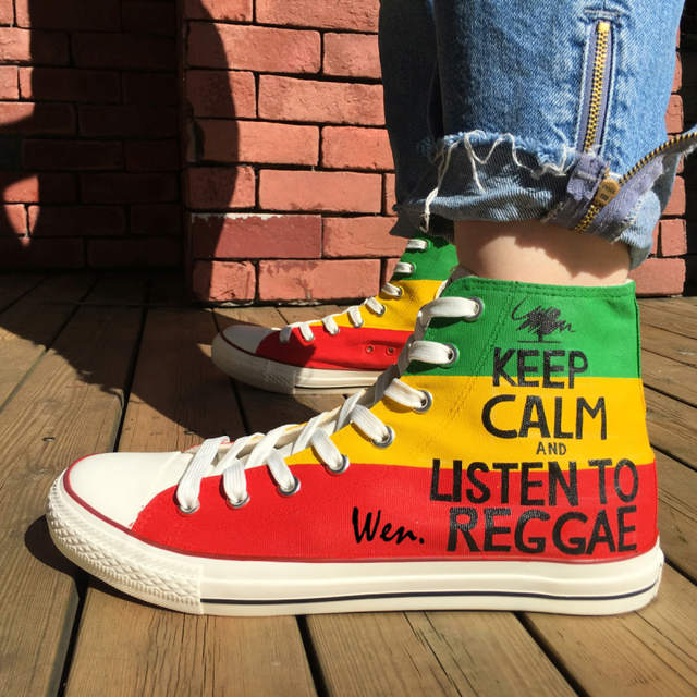 placeholder Wen Hand Painted Shoes Design Custom Reggae Man Woman s High  Top Canvas Sneakers Birthday Christmas Gifts 982a4429a384