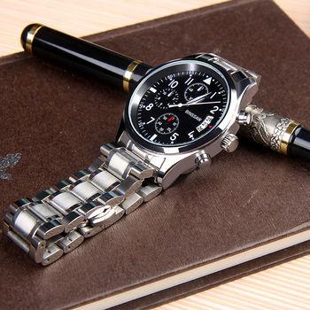 Quartz Watch Stainless Steel Fashion Leather Waterproof
