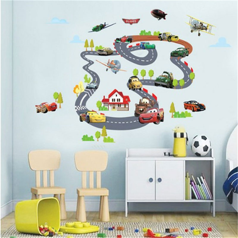 ... Cartoon Cars Highway Track Wall Stickers For Kids Rooms Muursticker  Kids Childrenu0027s Room Bedroom Decor Wall ...