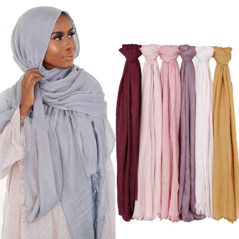 190*120cm Oversize Women Muslim Plain Frayed Hijab Scarf Femme Musulman Headscarf Islamic Shawls Crinkle Solid Pashmina Hijabs