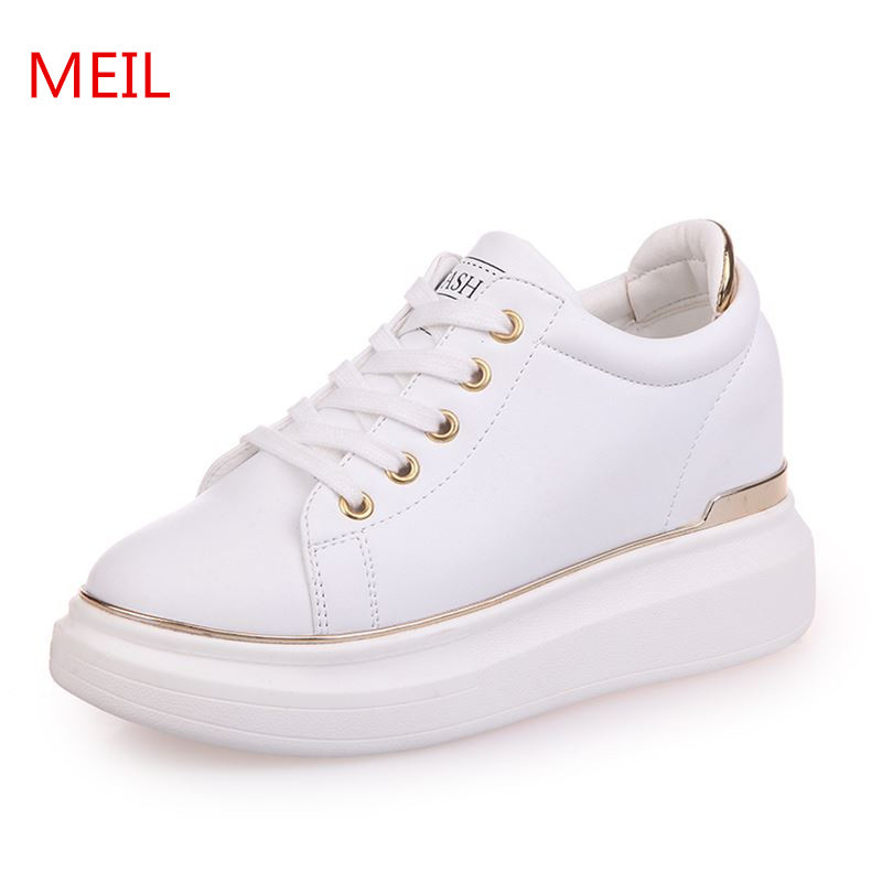 6cdcb18a62d US $28.55 49% OFF|MEIL Women shoes spring Autumn White Hidden Wedge Heels  Casual shoes Women's Elevator High heels for Women platform shoes-in  Women's ...