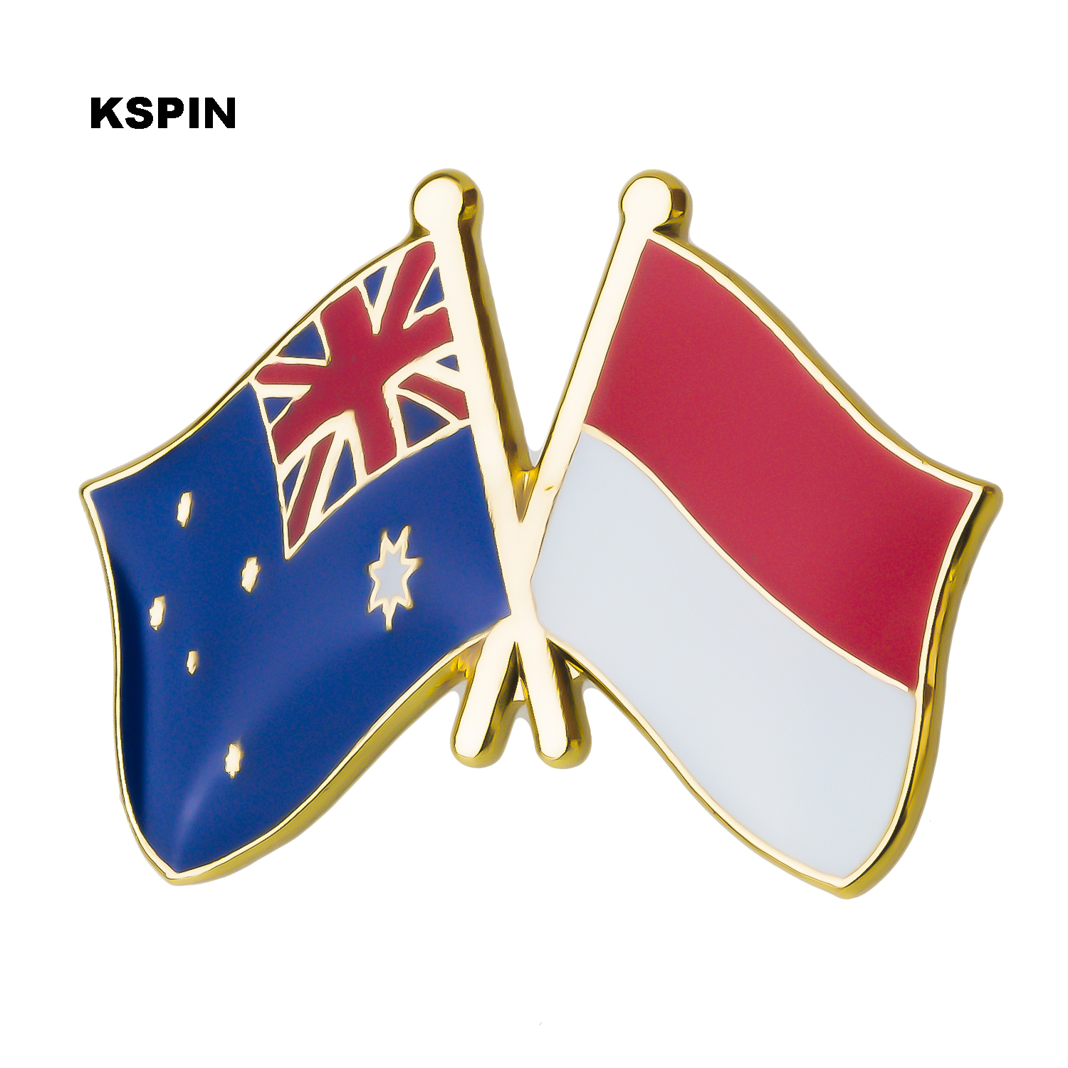 Australia Indonesia Friendship Flag Label Pin Metal Badge Badges Icon Bag Decoration Buttons Brooch For Clothes 1pc Arts,crafts & Sewing