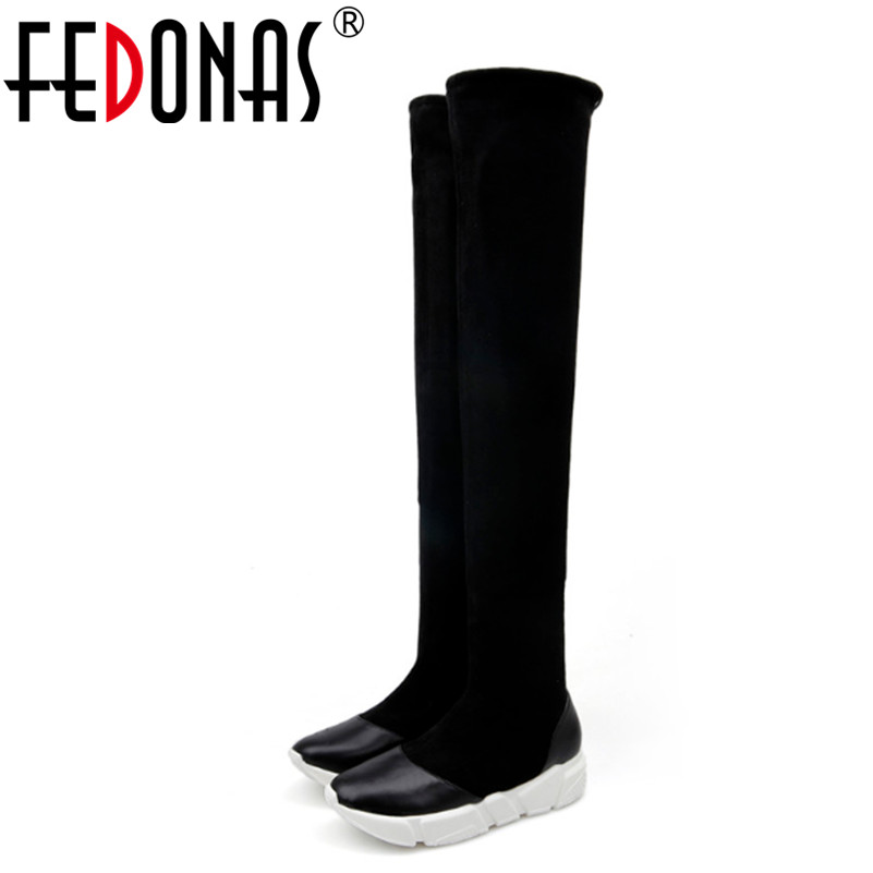 FEDONAS Autumn Winter Women Boots Stretch Slim Thigh High Boots Fashion Over the Knee Boots High Heels Shoes Woman Sapatos fashion snake printed thigh high boots med heels slip on over the knee boots autumn winter party banquet prom shoes woman