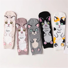 New 2018 harajuku cotton women socks cat face pattern socks personality chaussette femme calzini women socks autumn winter sock(China)