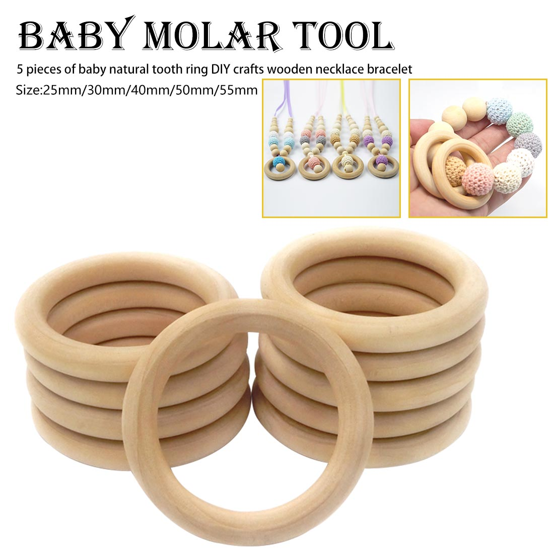 Baby Wooden Teething Rings Bracelet DIY Crafts Natural New Round Beads Connectors Circles Rings Wooden Round Kids Baby Toy