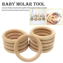 Baby Wooden Teething Rings Bracelet DIY Crafts Natural New Round Beads Connectors Circles Kids Toy