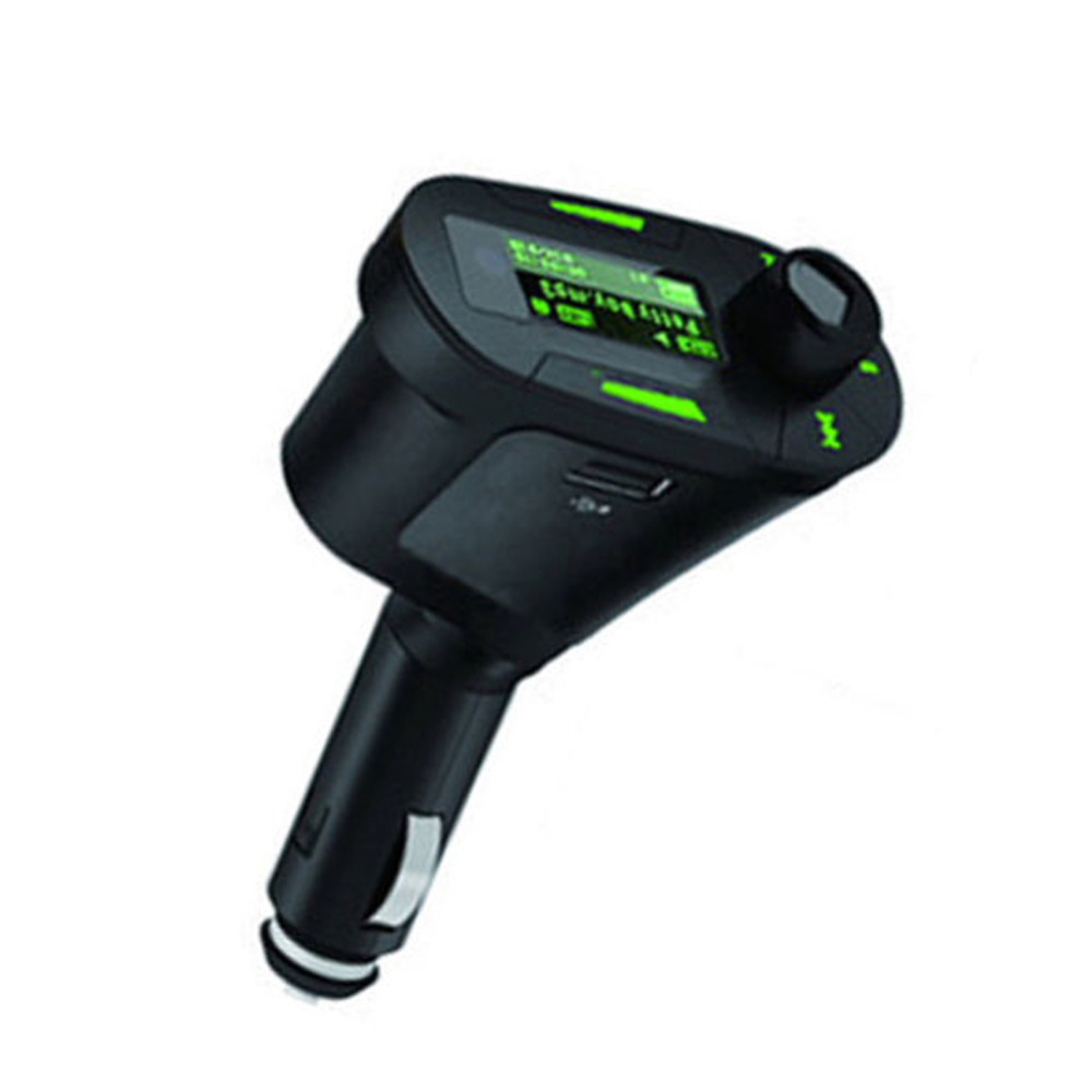 Hot Sale Car Kit MP3 Player Wireless FM Transmitter Radio Modulator car charge Support USB SD MMC Slot green LCD with Remote