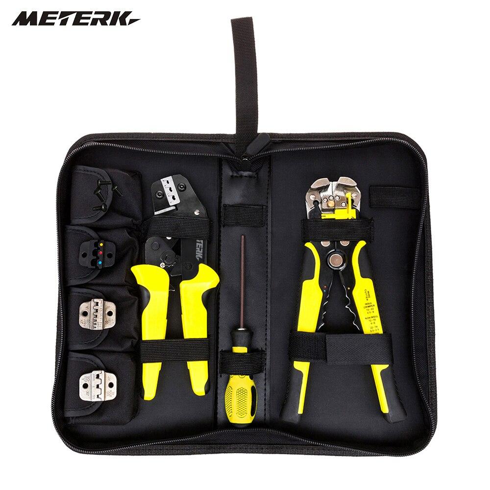 Meterk herramientas de mano 4 en 1 multiherramienta de planchas de ingeniería de trinquete de prensa alicates cable extremo terminales + cable Stripper