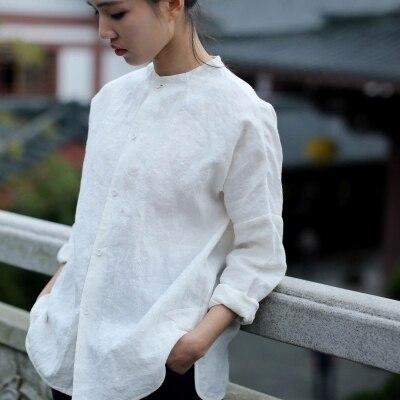 b3965e4b18f 100% лен одежда женская весна классический краткий белый рубашки с длинным  рукавом О образным вырезом 100% льняная рубашка женская рубашка linenall  муйи ...