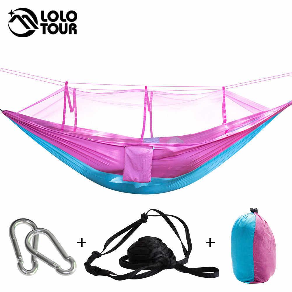 210 T нейлоновая гипюровая ткань гамак высокая прочность портативный хамак может сложить в сумке москитная сетка гамак Одиночная Perosn подвесная кровать