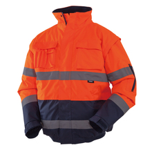 Mens Winter Hi Vis Safety Jacket Waterproof Jacket With Removable Sleeves Reflective Workwear