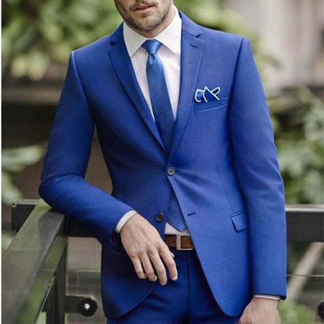 bf8a91a1691 2017 Blue Wedding Mens Suits Slim Fit Bridegroom Tuxedos For Men Groomsmen Suit  Italian Style Business Suits (Jacket+Pants+Tie)