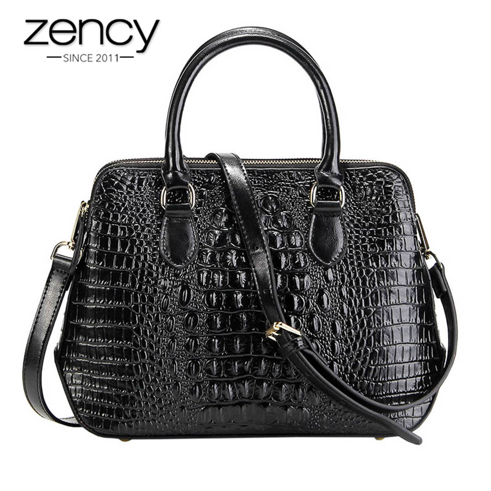 Zency Alligator Women Handbag 100% Genuine Leather Casual Tote Fashion Lady Crossbody Messenger Bag Classic Black Shoulder Purse-in Top-Handle Bags from Luggage & Bags    1
