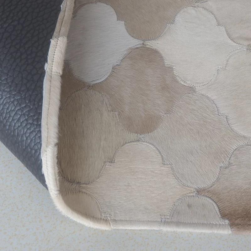 Moderne minimaliste ins scandinave salon table basse patchwork en cuir de vachette tapis mode tapis - 5