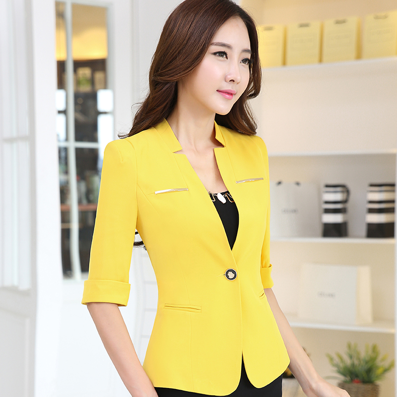 Elegant Ladies Blazers 2017 Fashion Single Button Blazer Women Suit Jacket Work Office Bussines ...