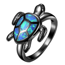 1PC Fashion Women Turtle Shape Vintage Black Gun Color Blue Stone Ring Jewelry Party Friend Specific Gift