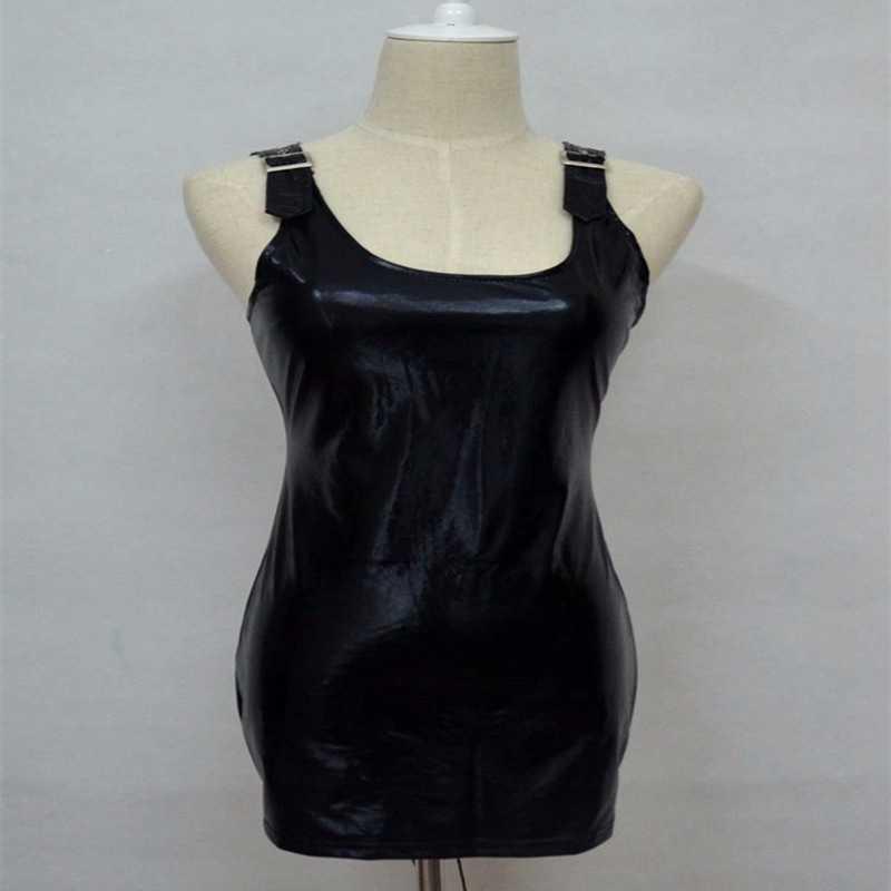 Erótico quente mini vestido sexy clube desgaste Mulheres wetlook babydoll Vestido De Látex Catsuit lingerie PVC couro pu Pólo Traje clubwear