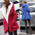 2016 new outono de Espessura da pele Do Falso forro de inverno das mulheres de pelúcia forro de jaqueta corta-vento e longas seções de Slim casaco de algodão mais tamanho
