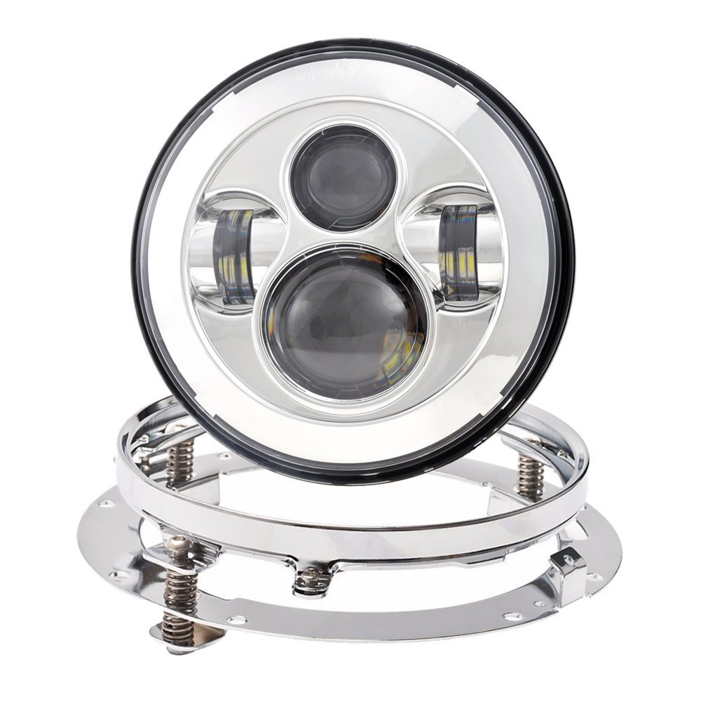 7 Inch LED Headlight 40W High Low Beam Daymaker Headlamp with Bracket Mounting Ring Adapter for Harley Davidson Motorcycle harley motorcycle 7 inch orange motorcycle headlight 4 5 fog daymaker hid led light bulb headlight for harley davidson
