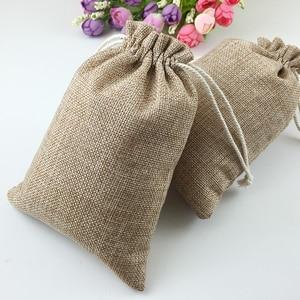 Image 3 - 60pcs Jute Bags Natural Burlap Hessia Gift Bags Wedding Party Favor Pouch Drawstring Jute Gift Bag Packaging Bag Storage Travel