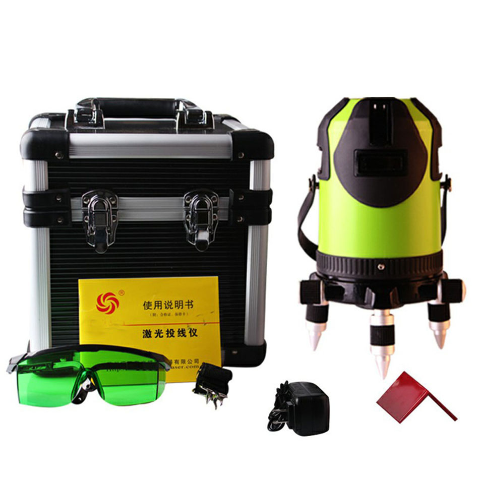 8 lines Lithium battery Green laser Level 360 Vertical And Horizontal Self-leveling Cross Line power Laser Level 2018 new fukuda 12 lines mw 93t lithium battery red laser level 360 vertical and horizontal self leveling cross line 3d laser