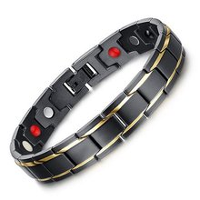 4 in 1 Health Energy Men Bracelet Bangle Germanium Magnet Bangle Pain Relief for Arthritis Magnetic Energy Therapeutic (China)