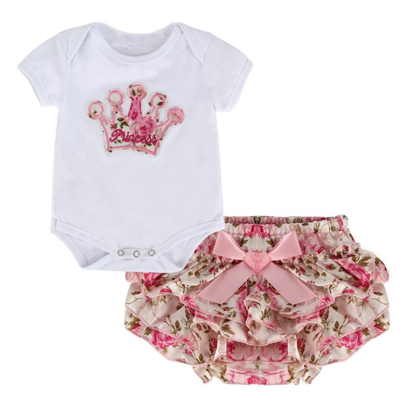 Summer 0-18M Cute Newborn Baby Girls Solid Color Crown Print Clothes Short Sleeve Bodysuit + Lovely PP Pants 2 pcs Set cute newborn baby girl clothes set short sleeve letter print short sleeve romper bodysuit ruffled legging warmers headband suit