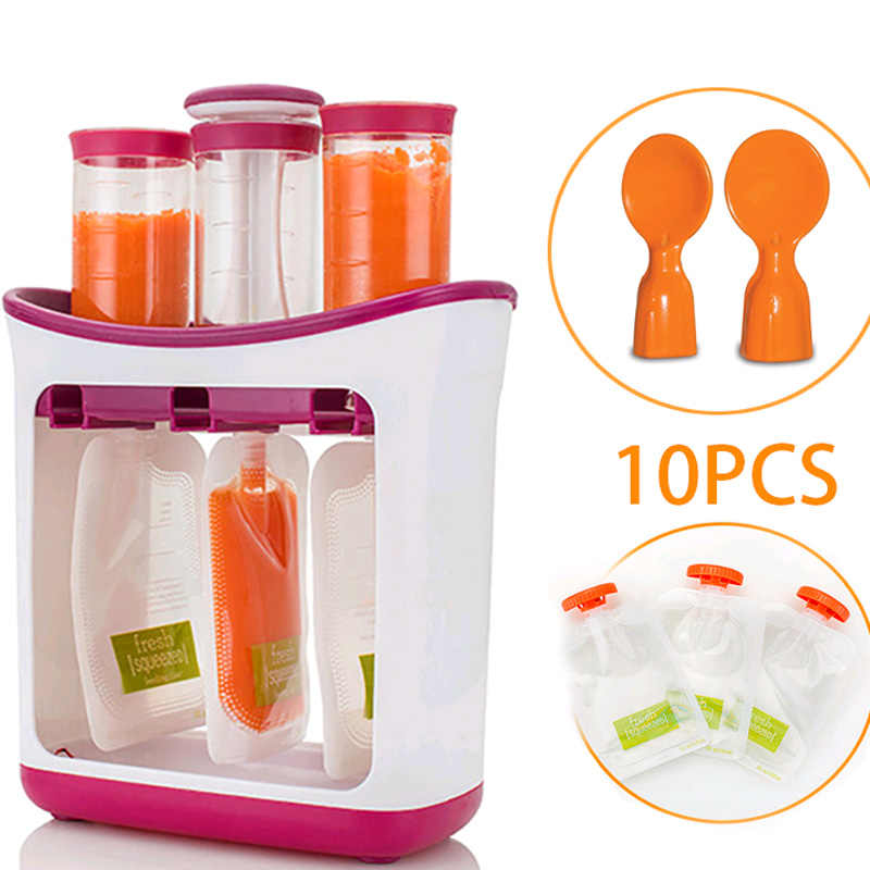 Baby Food Maker Squeeze Organic Food Machine Kids Fresh Fruit Juice Feeding Containers Storage Bags For Newborn Infant Pouches