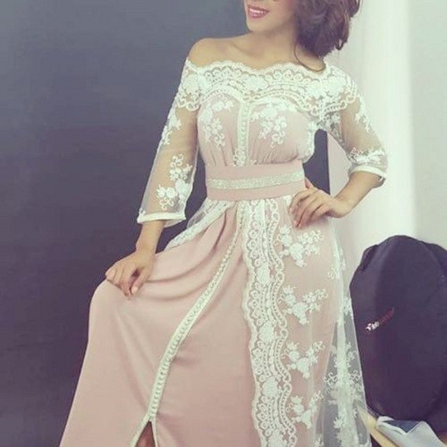 Simple And Elegant Wedding Dresses Boat Neck Three Quarter: 2017 Elegant Long Boat Neck Lace Muslim Evening Dresses