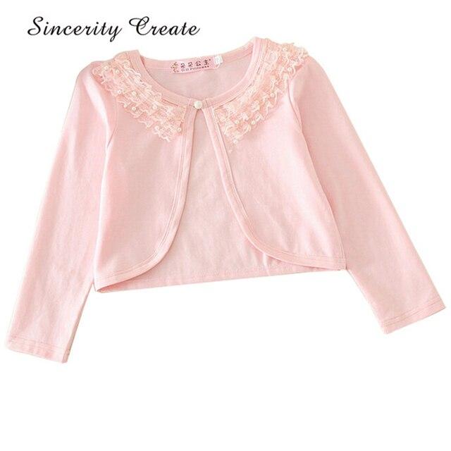 b7dd4fcab8 New Lace Collar Cotton Thin Girls Pink Cardigan Shrug Single Button 2-10Y Baby  Cardigan Long Sleeve For Girls KC-1611