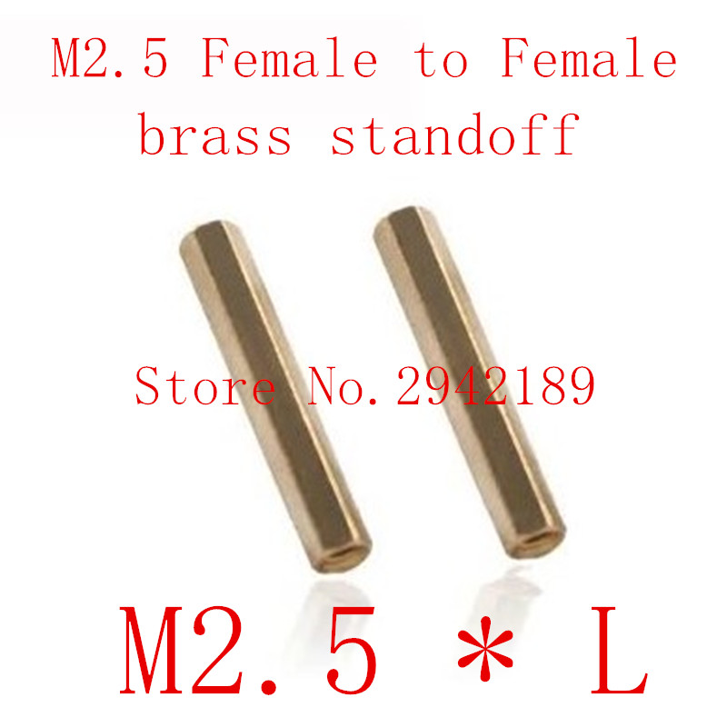 100pcs/lot M2.5*L 2.5mm Brass Standoff Spacer Female Female Spacing Screws Hex Brass Threaded Spacer length 3mm to 30mm m2 3 3 1pcs brass standoff 3mm spacer standard male female brass standoffs metric thread column high quality 1 piece sale